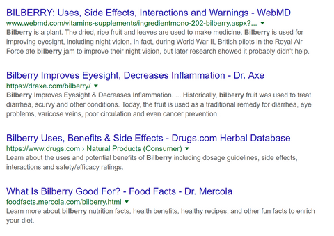 bilberry google search