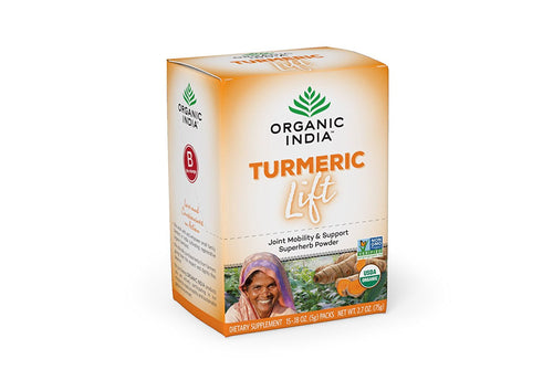 Organic India Turmeric Lift Powder/Tea/Beverage (15 Packets)