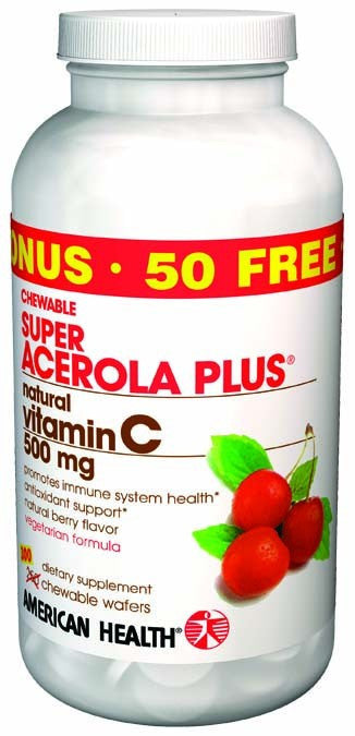 Dietary Supplement - American Health Super Acerola Plus 500mg W/50 Bonus 250+50