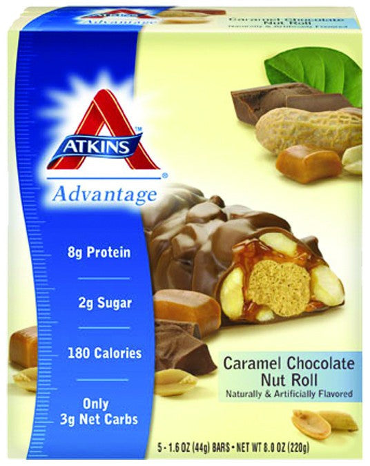 Dietary Supplement - Atkins Nutritionals Caramel Chocolate Nut Roll Bar 5/BOX