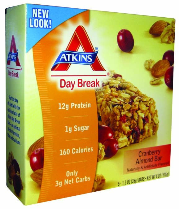 Dietary Supplement - Atkins Nutritionals Cranberry Almond Day Break Bars (Trail) 5/BOX