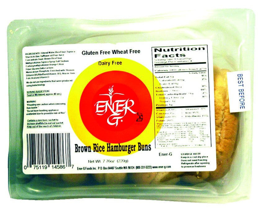 Dietary Supplement - Ener-G Foods Gluten-Free Brown Rice Hamburger Buns 6/10 OZ