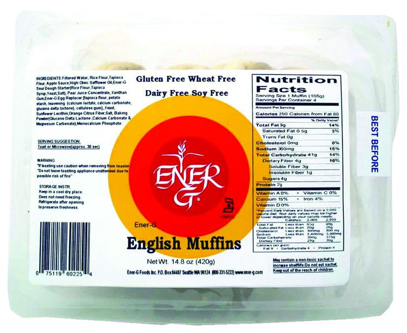 Dietary Supplement - Ener-G Foods Gluten-Free English Muffins