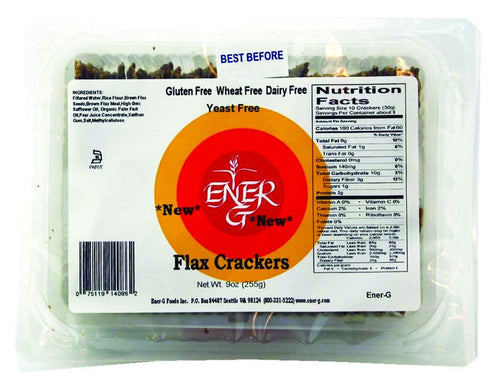 Dietary Supplement - Ener-G Foods Gluten-Free Flax Crackers 9 OZ
