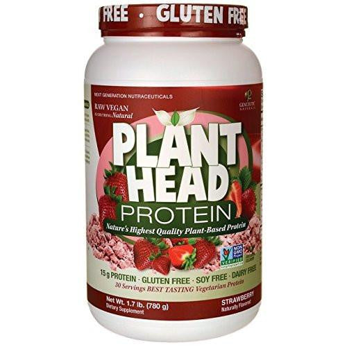 Dietary Supplement - Genceutic Naturals PlantHead Strawberry Protein, 1.7 Pound