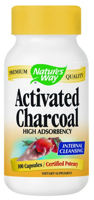 Dietary Supplement - Nature's Way Activated Charcoal Yellow Bottle 100 CAP