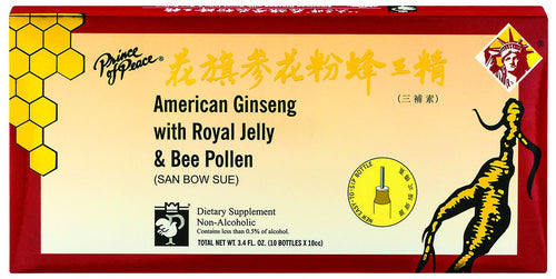 Dietary Supplement - Prince Of Peace American Ginseng RJ Bee Pollen 10 VIAL