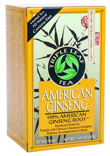 Dietary Supplement - Triple Leaf Tea American Ginseng Tea (100% Wisc. Root) 20 BAG
