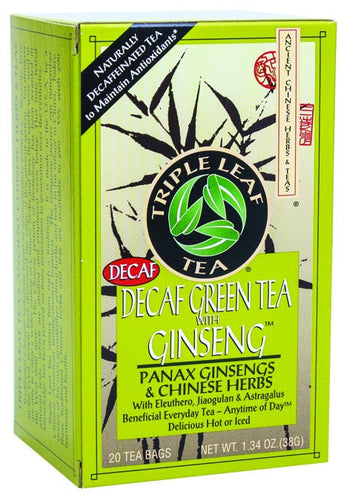 Dietary Supplement - Triple Leaf Tea Decaf Green Tea W/Ginseng 20 BAG
