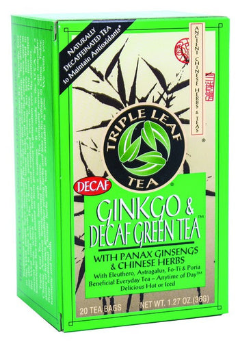 Dietary Supplement - Triple Leaf Tea Ginkgo & Decaf Green Tea 20 BAG
