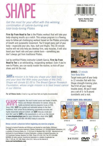 Shape Pilates Workout Firm Up From Head To Toe DVD
