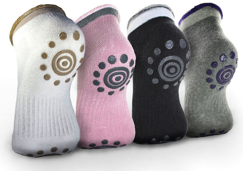 Non Slip Skid Yoga Pilates Socks with Grips Cotton for Women (4 Pairs)