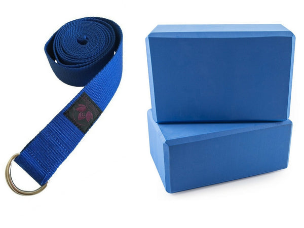 Yoga Blocks (2 pcs x 4 inch) and Yoga Strap with D-Ring