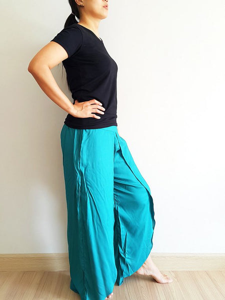 Open Leg Wide Leg Plain Color Solid Color Teal Green UNISO21