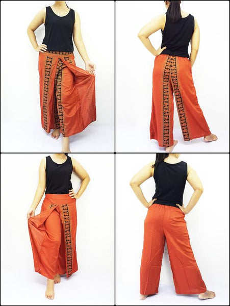 Open Leg Wide Leg Plain Color Solid Color Orange UNIPRWT5