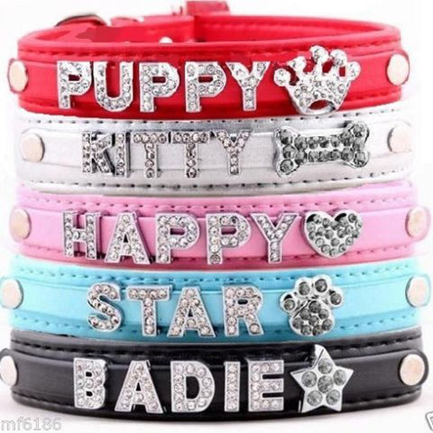 5 Colors Name Dog Collars Leather Personalized Pet