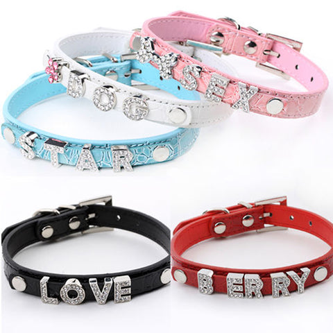 5 Colors Pet Dog Leather Personalized Collars