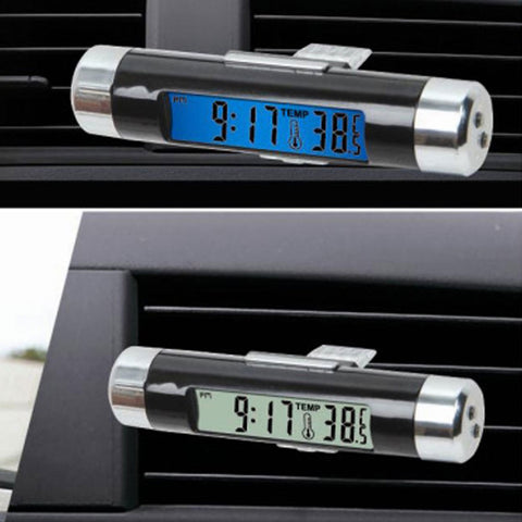Air Outlet Clip-on Automotive Car Clock Thermometer