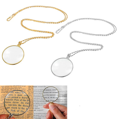 5X Necklace Magnifier Hanging Loupe Utility Monocle Lens