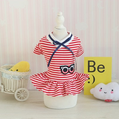Small Medium Dog Cat School Uniforms Dress