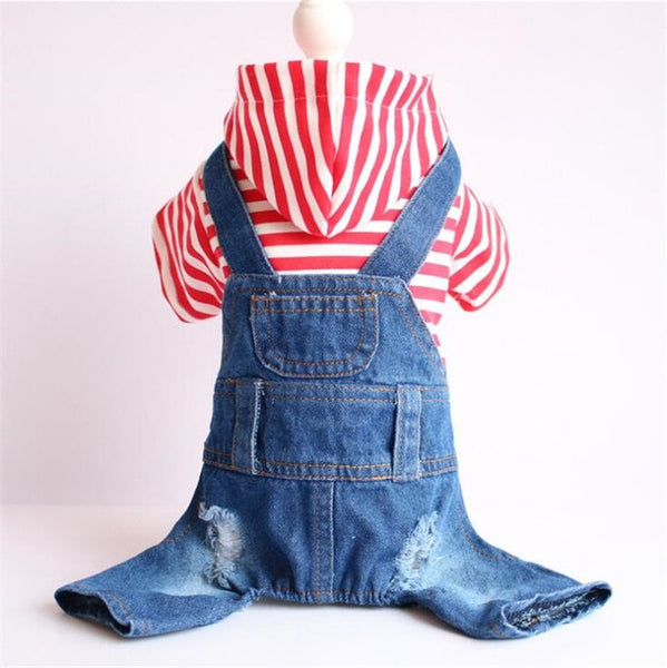 Stripe Denim Pet Jumpsuit Pants Dog Clothing