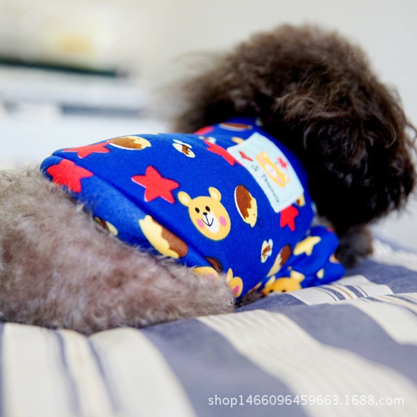 Cartoon Spring Autumn Pet Dog Cat Print Clothing for Dogs