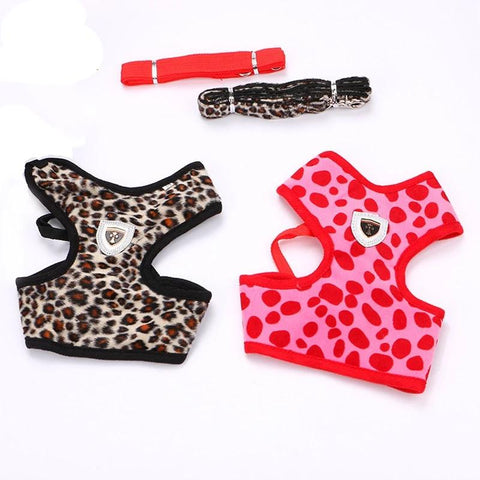 Fashion Leopard Pattern Cat Dog Harness Traction rope