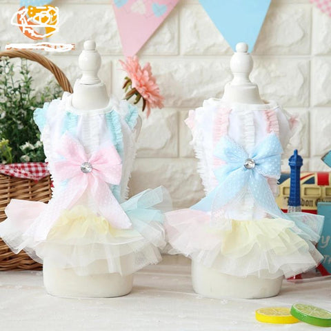 Spring and Summer Cute Pet Bow Veil Skirt Dress
