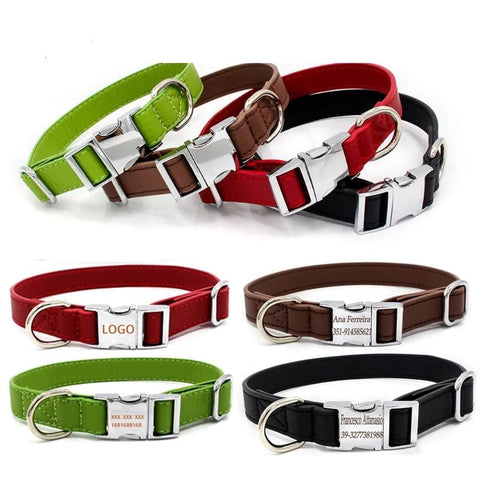 Leather Dog Collar Personalized Pet