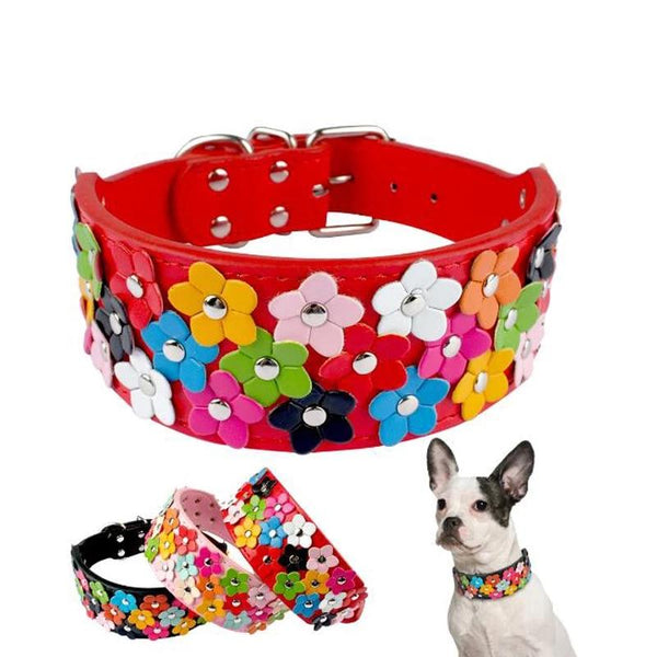 Flower Dog Collar Cute Leather Studded Dogs