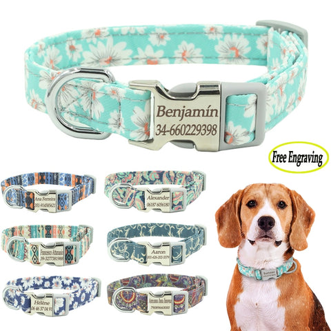 Dog Collar Personalized Nylon Pet Dog Tag
