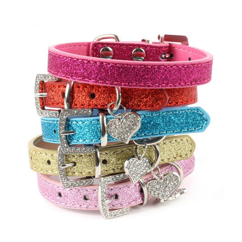 Luxury Pet Dog Cat Collar Bling Pu Leather