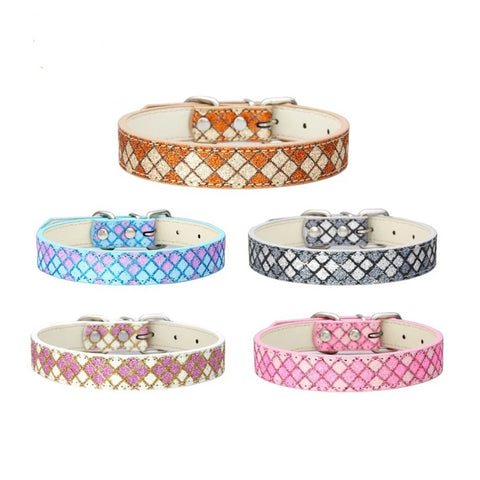 3 Colors Classic Scottish Plaid PU Pet Dog Collar