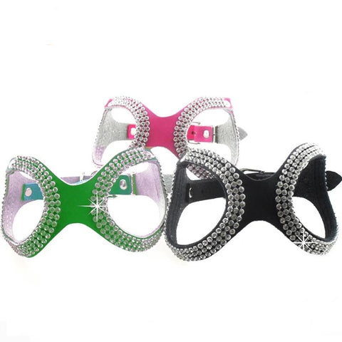 Glasses Style Bling Crystals Pet Dog Harness
