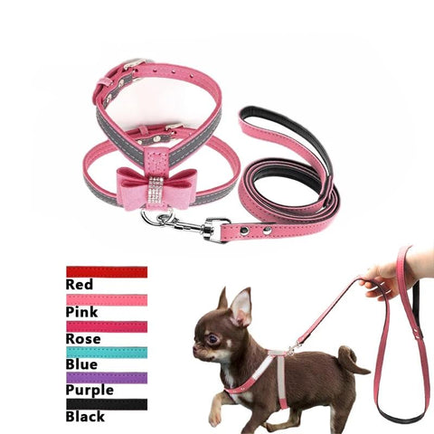 Reflective Rhinestone Bowknot Pet Dog Suede Fabric Harness