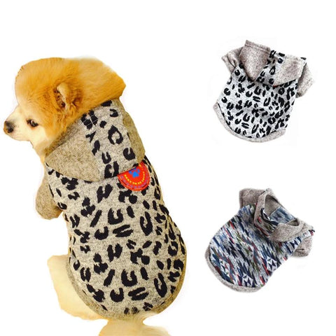 Dog Sweatshirt Cotton Fashion Pet Leopard Gray Puppy Cat Jacket