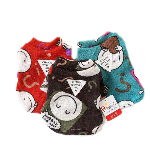 Dog Clothes Cartoon Print Pet Bottoming Shirt