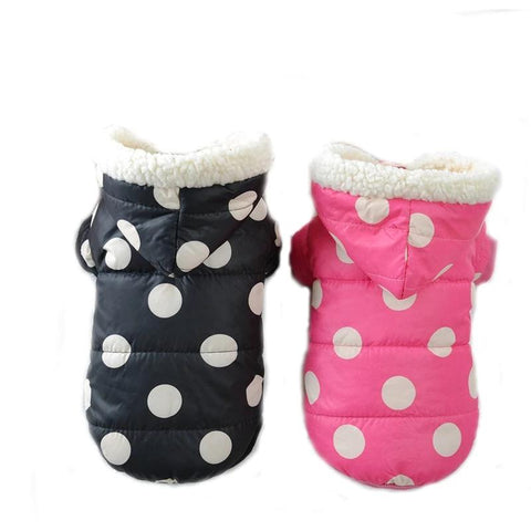 Hot Pet Dog Clothes Coat Winter Warm Dot Outerwear