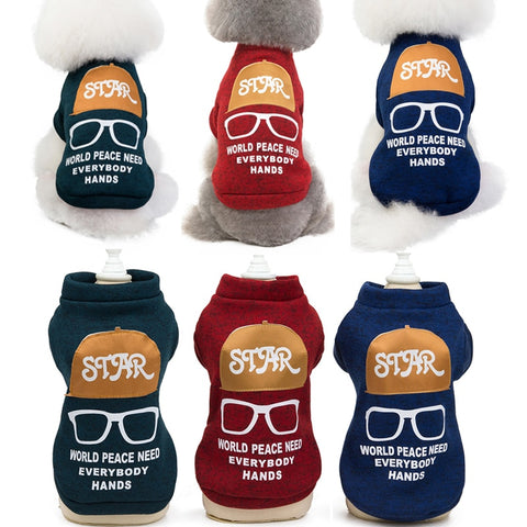 Fashion Letters and Glasses Printed Dog Sweatshirt Pet