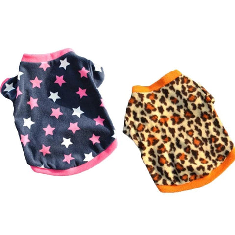2 Styles Warm Puppy Dog Clothes Pet Cat Print Coat