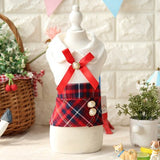 Spring Summer Pet Dog Cat Cute Dress Cotton Plaid Bow