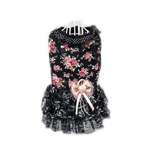 Spring Summer Fashion Dog Black Lace Dress Skirts