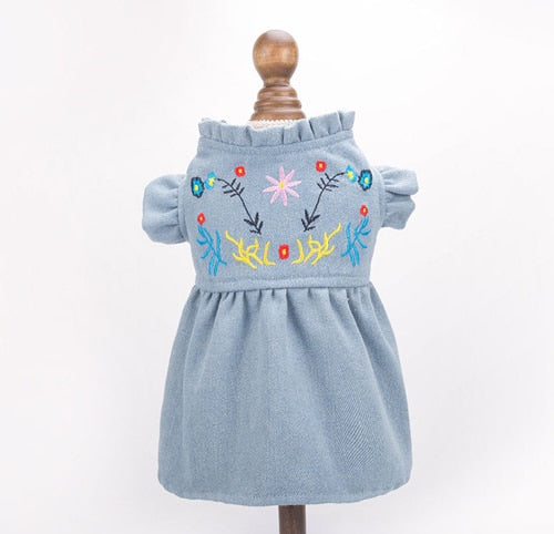 Summer Spring Embroidery Dog Jean Skirts Pet Dresses