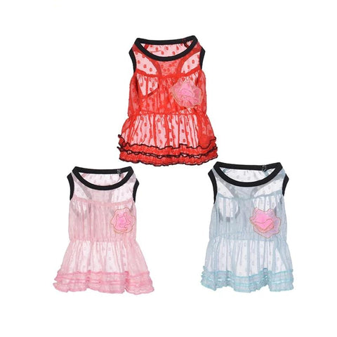 Mesh Flower Skirt Puppy Cat Dresses for Small Dog