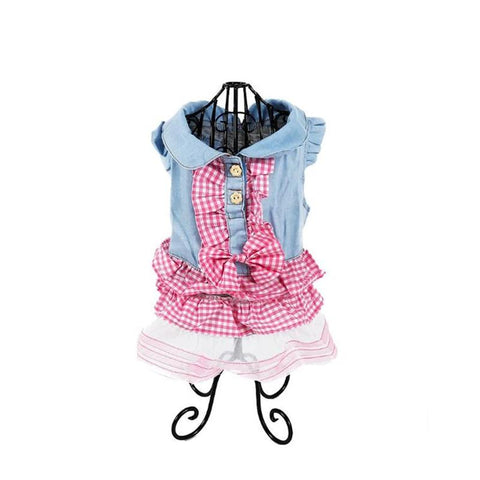 New Dog Dress Pet Princess Dress Dog Cat Plaid Skirt