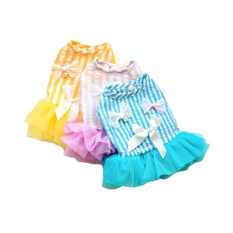 Pet Princess Dress Stripe Bow Dresses