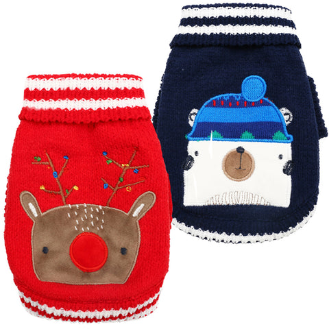 Cute Animal Pattern Dog Sweaters Winter Warm Pet Clothes