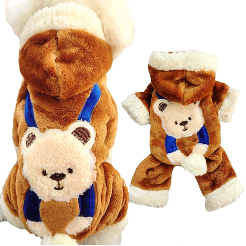 Soft Fleece Dog Jumpsuit Winter Warm Pet Clothes