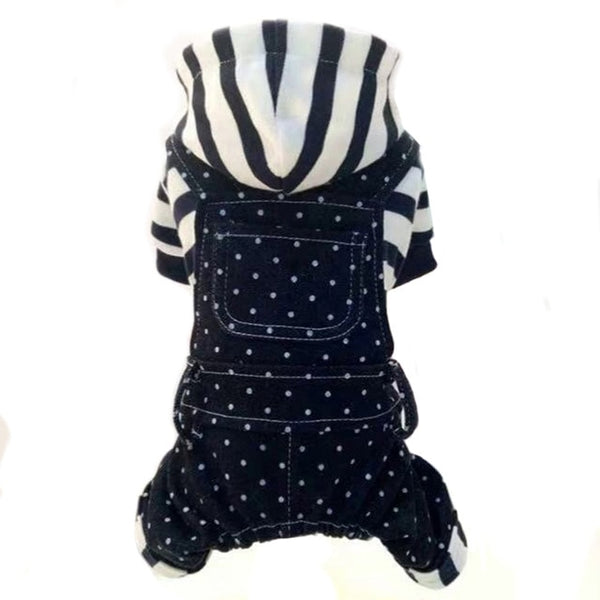 Winter Pet Dog Clothes Striped Hoodie
