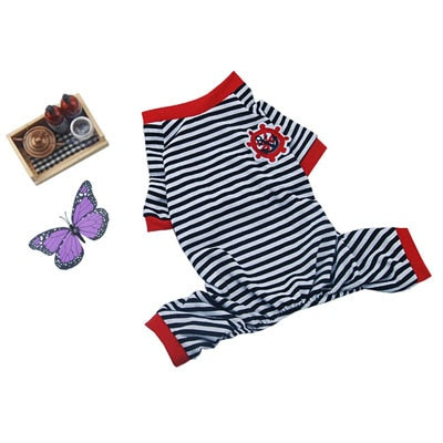 Pet Cartoon Animal Striped Cotton Pajamas Dog